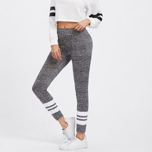 New Sporty Gray Striped Marled Knit Leggings L